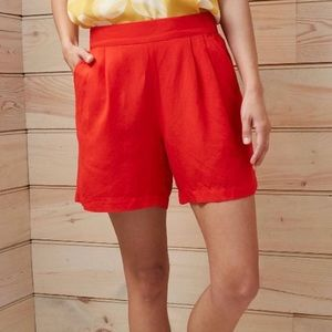 A New Day Red Mid-Rise Linen Pull-On Shorts Medium